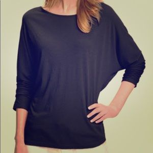 Vince Black Dolman Sleeve Cotton Top